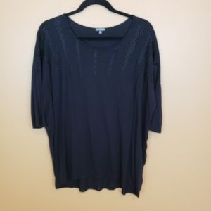 Hannah black 3/4 sleeve top Large